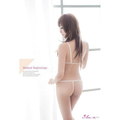 Anna Mu - Soft White Sexy Lingerie Pink Mesh Embroidery Two Pieces Bra Set NA15030026 (Pink) | CherryAffairs Singapore