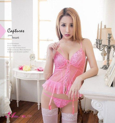Anna Mu - Sophie Sweet Lace Style Vest Four Set Camisole NA10030033 (Pink) | CherryAffairs Singapore