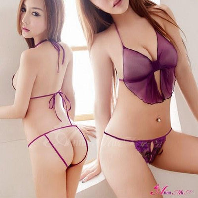 Anna Mu - Stylish Thong NA13010050 (Purple) Lingerie (Non Vibration) - CherryAffairs Singapore
