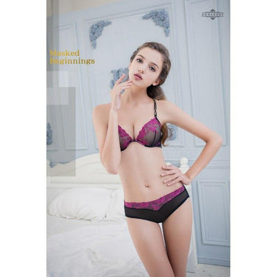 Anna Mu - Sweet Encounters Beauty Back No Pad Rims Underwear Bra Set NA16040013 (Black) Lingerie - CherryAffairs Singapore