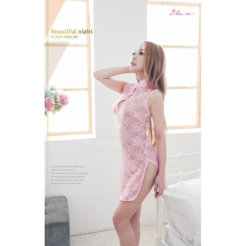 Anna Mu - Sweetheart Lace Two Piece Chinese Doll Cheongsam Costume Set NA09030147 (Pink) Costumes - CherryAffairs Singapore