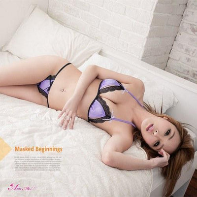 Anna Mu - Versatile Flirty Bra And Knickers NA12030211 (Purple) Lingerie (Non Vibration) - CherryAffairs Singapore