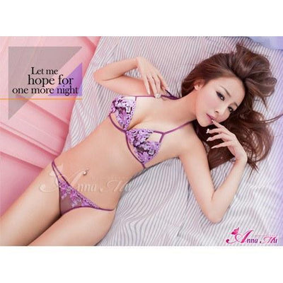 Anna Mu - Versatile Flirty Bra And Knickers NA13030061 (Purple) Lingerie (Non Vibration) - CherryAffairs Singapore