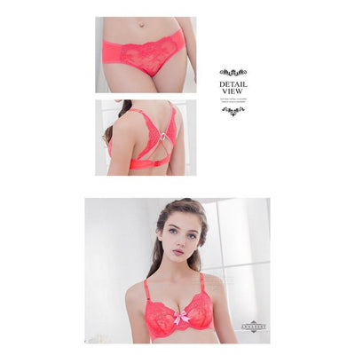 Annaberry - Charming Girl Beauty Beauty Back No Pad Rims Underwear Bra Set NA16040043 (Red) Lingerie - CherryAffairs Singapore