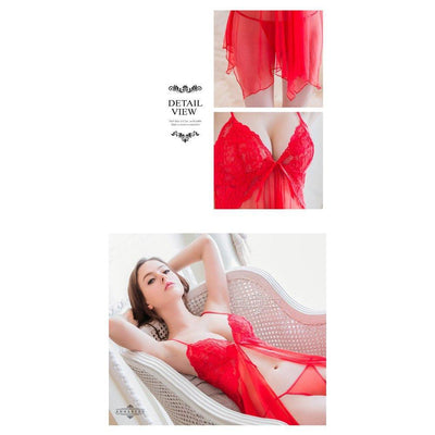 Annaberry - Hot Sexy Charm Sophie Open Front 2-piece Babydoll NY14020042-2 (Red) Chemises - CherryAffairs Singapore
