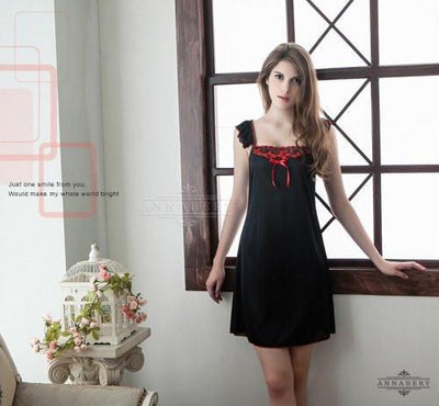 Annaberry - Lotus Leaf Edge Red Straps Plus Size Sleep Wear Babydoll  NY14020105 (Black) Chemises - CherryAffairs Singapore