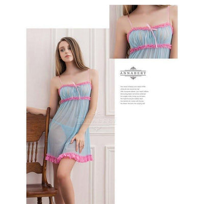 Annaberry - Sophie Lace Plus Size Sleep Wear Babydoll NY14020032 (Blue) | CherryAffairs Singapore