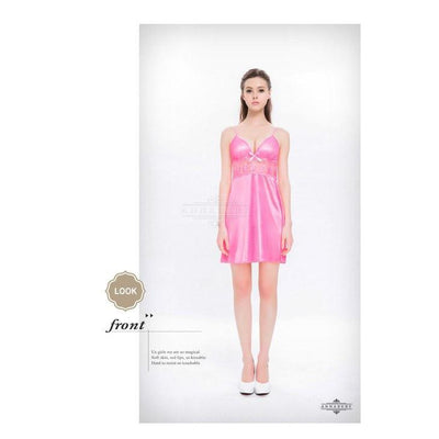 Annaberry - Sweetheart Pretty Satin Dress Babydoll NY16020060 (Pink) Chemises - CherryAffairs Singapore