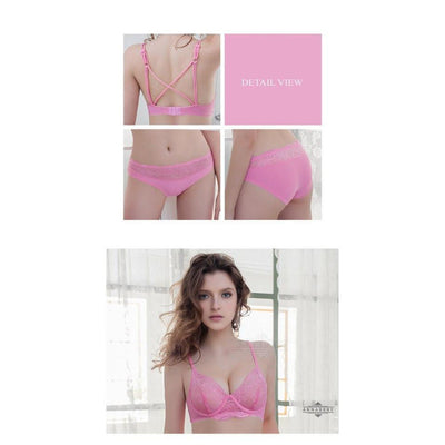 Annaberry - Sweety Beauty Back No Pad Rims Underwear Bra Set NA16040047 (Pink) Lingerie - CherryAffairs Singapore