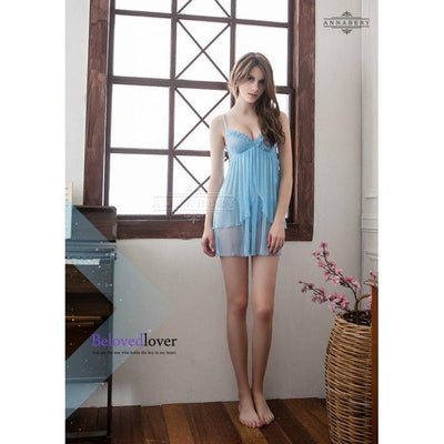 AnnaBery - Double Sophie Plus Size Sleep Wear Babydoll NY14020051 (Blue) Chemises - CherryAffairs Singapore