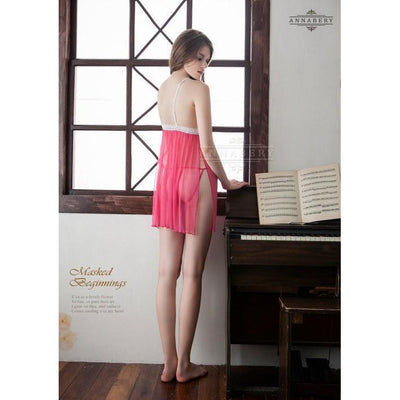 AnnaBery - Lace Knurled Two Pieces Side Cardigan Pink Plus Size Sleep Wear Babydoll NY14020046 (Red) Chemises - CherryAffairs Singapore