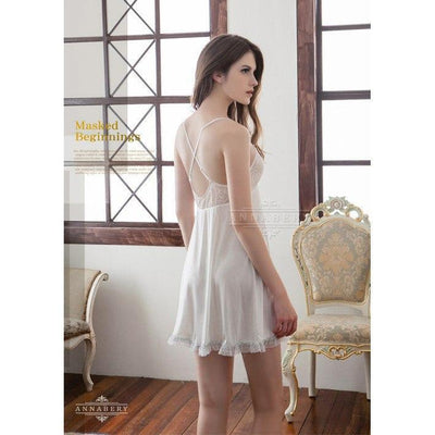 AnnaBery - Lace Strip & Lace Skirt Edge Plus Size Sleep Wear Babydoll NY14020089 (White) Chemises - CherryAffairs Singapore