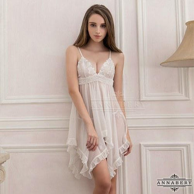 AnnaBery - Petal Frost Chiffon Crossing Plus Size Sleep Wear Babydoll NY14020045 (White) Chemises - CherryAffairs Singapore