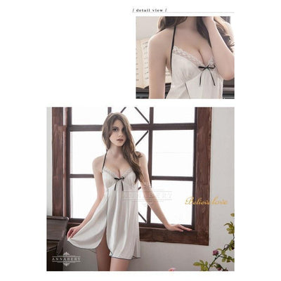 AnnaBery - Side Edge Cardigans Soft Satin Plus Size Sleep Wear Babydoll NY14020070 (White) Chemises - CherryAffairs Singapore