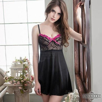 AnnaBery - Soft Satin Jacquard Lace Plus Size Sleep Wear Babydoll NY14020086 (Black) Chemises - CherryAffairs Singapore