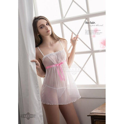 AnnaBery - White Angel Sexy Two Pieces Plus Size Sleep Wear Babydoll NY14020023 (White) Chemises - CherryAffairs Singapore