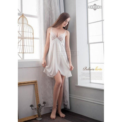 AnnaBery - White Lace Side Cardigans Soft Satin Plus Size Sleep Wear Babydoll NY14020002-1 (White) Chemises - CherryAffairs Singapore
