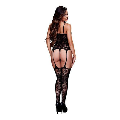 Baci - Corset Front Suspender Lace Bodystocking One Size (Black) Costumes - CherryAffairs Singapore