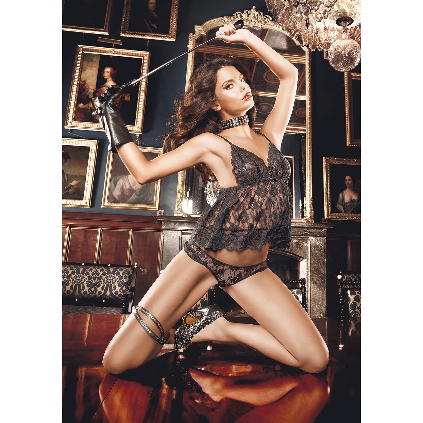 Baci - Flower Lace Babydoll Lingerie One Size (Black) | CherryAffairs Singapore