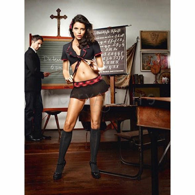 Baci - Head of the Class Schoolgirl Costume Set One Size Costumes - CherryAffairs Singapore