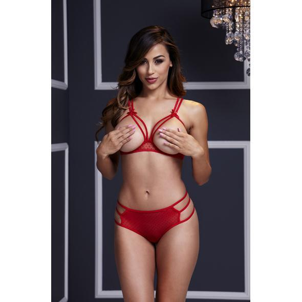 Baci - Red Strappy Open Cup Bra Set & Panty One Size | CherryAffairs Singapore