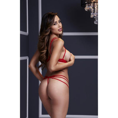 Baci - Red Strappy Open Cup Bra Set & Panty One Size Lingerie (Non Vibration) Singapore