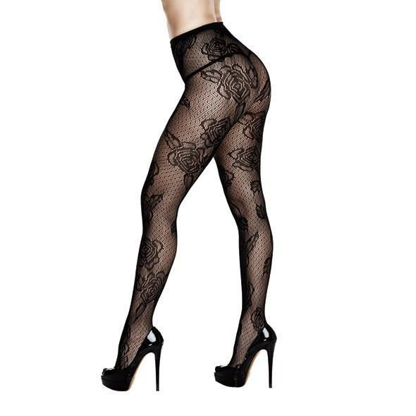 Baci - Rose Floral Lace Pantyhose One Size (Black) Costumes - CherryAffairs Singapore