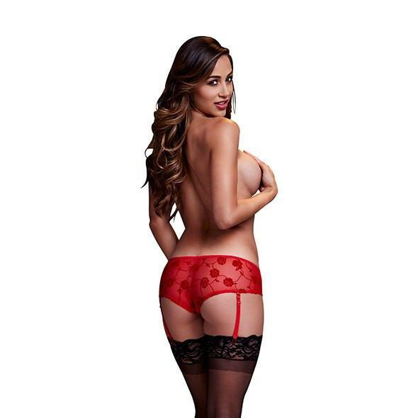 Baci - Rose Open Crotch Boyshort Panty Small (Red) Crotchless Panties - CherryAffairs Singapore