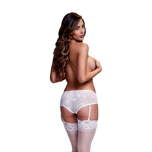 Baci - Rose Open Crotch Boyshort Panty Small (White) Crotchless Panties - CherryAffairs Singapore