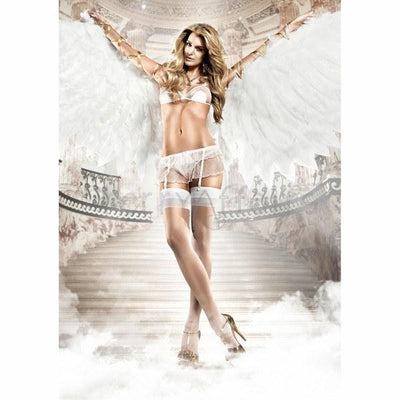 Baci - Softcup Mesh Bra & Garter Lingerie One Size (White) Costumes - CherryAffairs Singapore