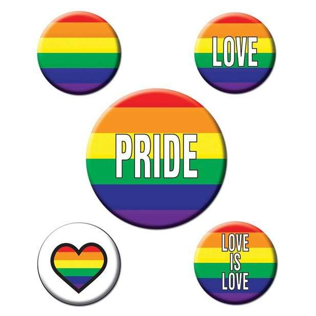 Beistle - Rainbow Pride Party Buttons Pack of 5 (Multi Colour) Party Novelties 034689077404 CherryAffairs