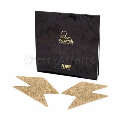 Bijoux Indiscrets - Flash Bolt Pasties (Gold) Costumes - CherryAffairs Singapore