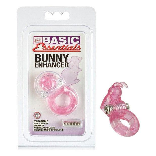 California Exotics - Basic Essentials Bunny Enhancer (Pink) Rubber Cock Ring (Vibration) Non Rechargeable - CherryAffairs Singapore