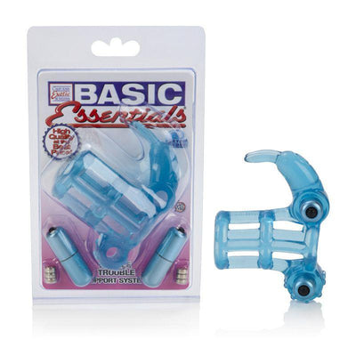 California Exotics - Basic Essentials Double Trouble Vibrating Support System Cock Cage (Blue) Rubber Cock Ring (Vibration) Non Rechargeable Singapore