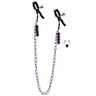 California Exotics - Chain Nipple Clamps (Purple) Nipple Clamps (Non Vibration) - CherryAffairs Singapore