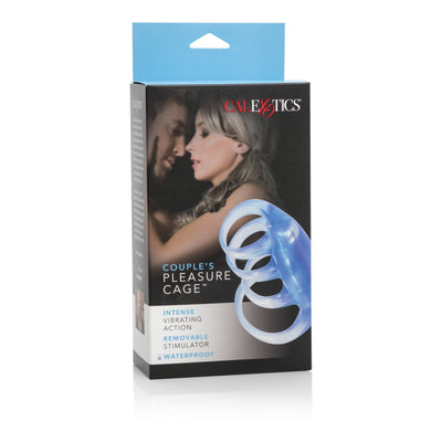 California Exotics - Couple's Pleasure Vibrating Cock Cage (Blue) Cock Sleeves (Vibration) Non Rechargeable Singapore
