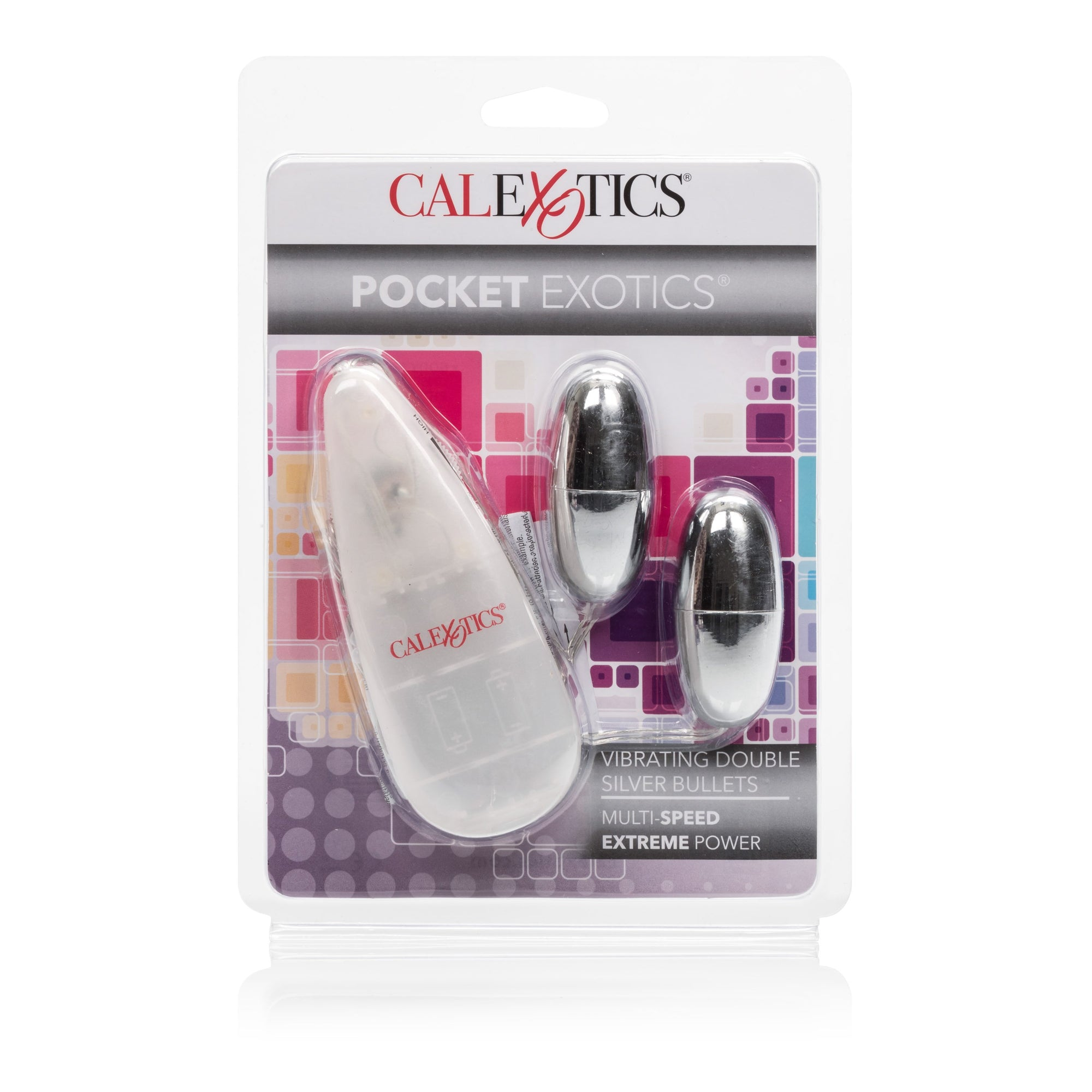 California Exotics - Pocket Exotics Vibrating Double Silver Bullet Vibrator  (White) Wired Remote Control