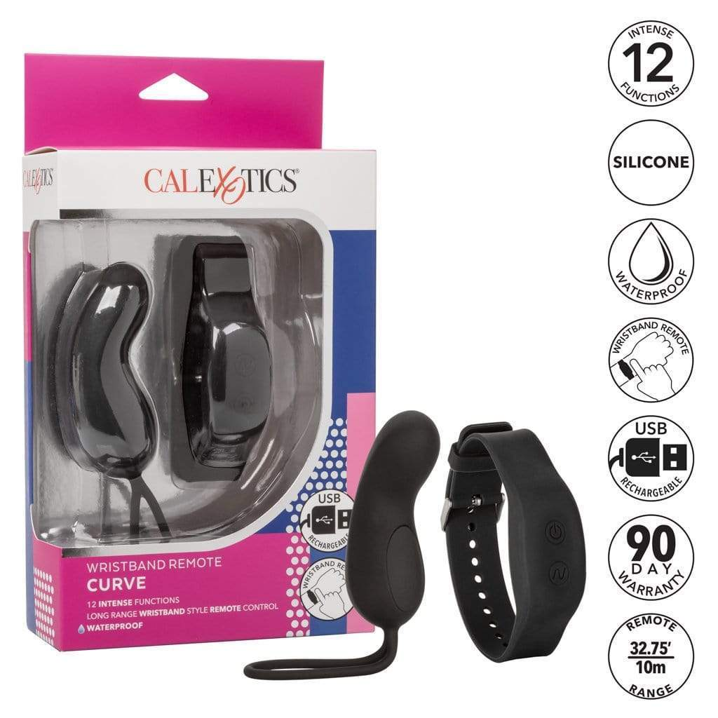 California Exotics - Wristband Remote Curve Panty Vibrator (Black) Panties Massager Remote Control (Vibration) Rechargeable 716770093141 CherryAffairs