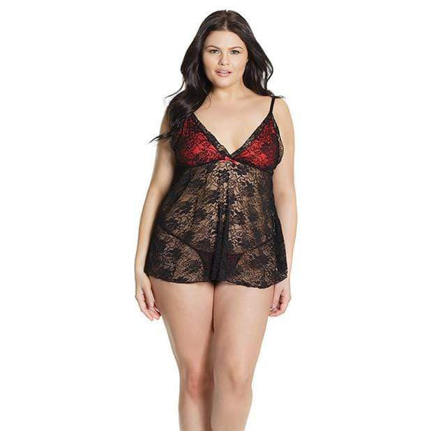 Coquette - Bold Stretch Lace Babydoll and G String Chemise Queen (Black) Chemises 883124167107 CherryAffairs