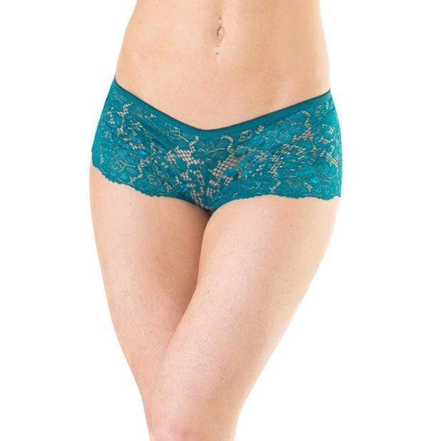 Coquette - Low Rise Stretch Scallop Lace Booty Short Panty XL (Green)