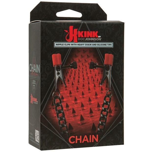 Doc Johnson - Kink Silicone Nipple Alligator Clamps with Heavy Chain (Black) | CherryAffairs Singapore
