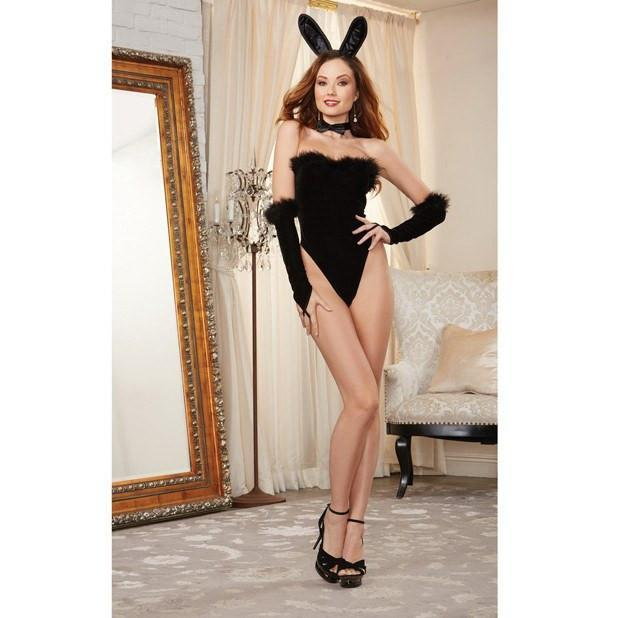 Dreamgirl - 4 Piece Strapless Stretch Velvet Teddy with Marabou Trim, Fingerless Gloves, Ears & Bowtie Black One Size (Black) | CherryAffairs Singapore