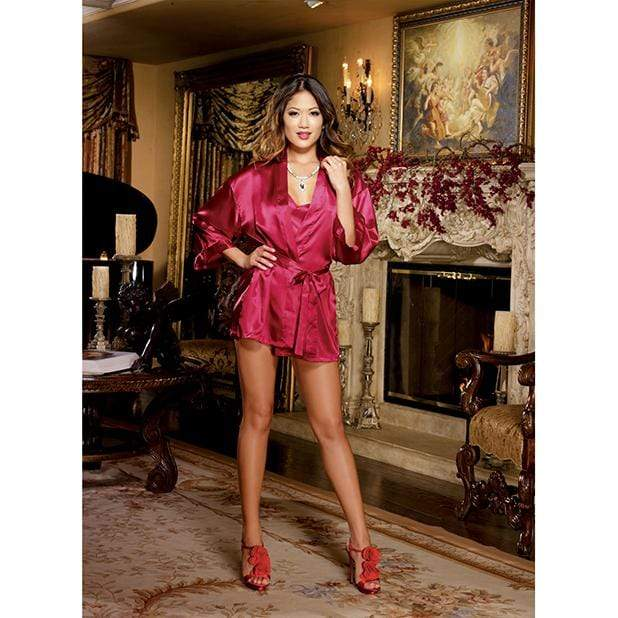 Dreamgirl - Charmeuse Short Length Kimono with Matching Chemise S/M (Red) Chemises