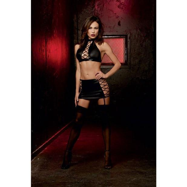 Dreamgirl - Fetish Stretch Knit Halter with Back Tie & Garter Skirt with Elastic Lace Up Sides & Attached Garters One Size (Black) | CherryAffairs Singapore
