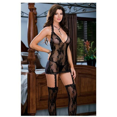 Dreamgirl - Floral Stretch Lace Halter Dress with Attached Garters & Thigh (Black) Costumes - CherryAffairs Singapore