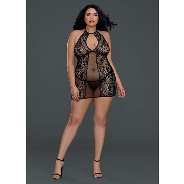 Dreamgirl - Sheer Lace Chemise with G String Queen (Black) Chemises 888368281008 CherryAffairs