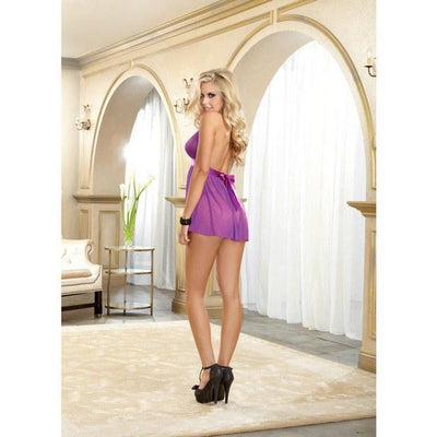 Dreamgirl - Stretch Mesh Halter Babydoll with Tie Back Closure & G-String O (Purple) Costumes - CherryAffairs Singapore