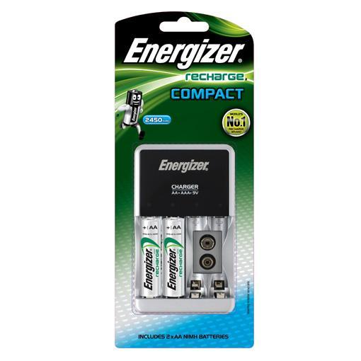 Energizer - Recharge CHCC Compact Charger With 2 AA for AA, AAA, 9V Battery Singapore