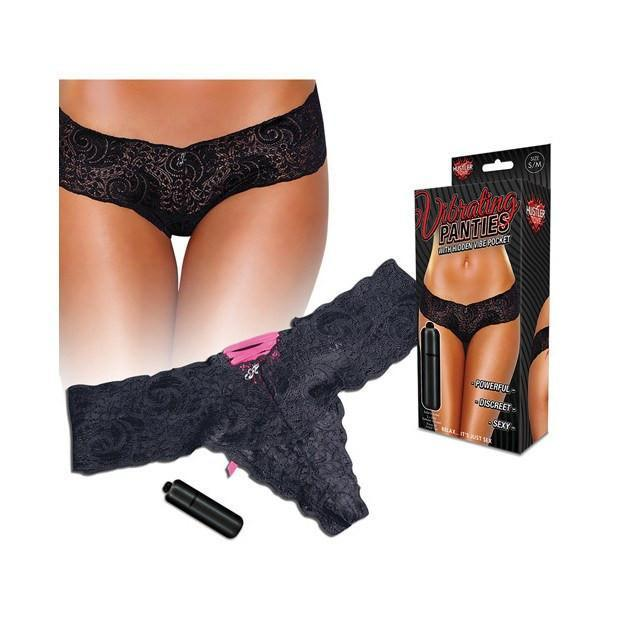Hustler - Vibrating Panties with Hidden Vibe Pocket Back Lace Up M/L (Black/Pink) | CherryAffairs Singapore
