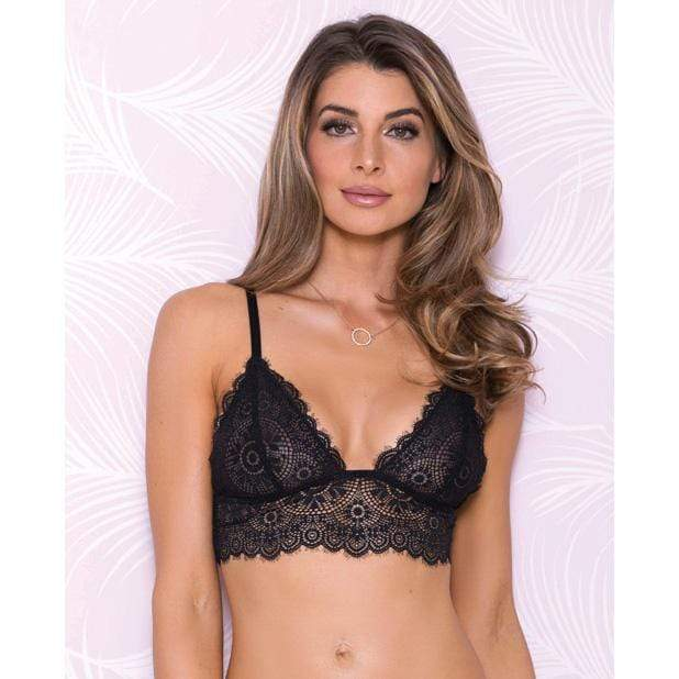 iCollection - Lace Bralette with Adjustable Shoulder Strap L (Black)